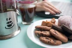 Πιάτο των μπισκότων με το φοντάν και marshmallow σοκολάτας σε ένα backg Στοκ εικόνες με δικαίωμα ελεύθερης χρήσης