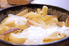 πιάτο των τηγανισμένων πατατών Στοκ Φωτογραφία