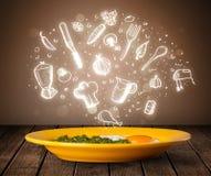 Πιάτο των τροφίμων με τα άσπρα εικονίδια κουζινών Στοκ Εικόνα