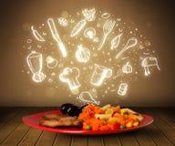 Πιάτο των τροφίμων με τα άσπρα συρμένα χέρι εικονίδια και τα σύμβολα Στοκ εικόνα με δικαίωμα ελεύθερης χρήσης