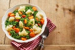 Πιάτο των φρέσκων τρυφερών νέων λαχανικών στοκ εικόνες
