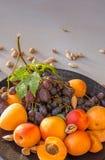 Πιάτο φρούτων με τα σταφύλια, το βερίκοκο και το αμύγδαλο Στοκ φωτογραφία με δικαίωμα ελεύθερης χρήσης