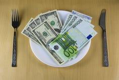 πιάτο χρημάτων Στοκ Φωτογραφία