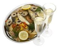 πιάτο ψαριών σαμπάνιας Στοκ Εικόνα