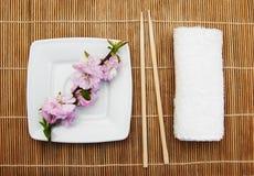 Πιάτο, chopsticks και κλάδος sakura Στοκ Εικόνες