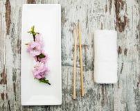 Πιάτο, chopsticks και κλάδος sakura Στοκ φωτογραφίες με δικαίωμα ελεύθερης χρήσης