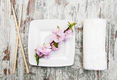 Πιάτο, chopsticks και κλάδος sakura Στοκ φωτογραφία με δικαίωμα ελεύθερης χρήσης