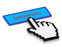 Πιέζοντας κουμπί αγορών ποντικιών χεριών Στοκ Φωτογραφίες