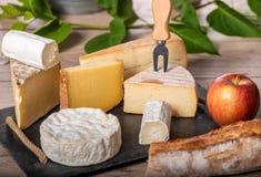 Πιατέλα των διαφορετικών γαλλικών τυριών Στοκ φωτογραφίες με δικαίωμα ελεύθερης χρήσης