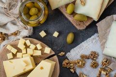 Πιατέλα τυριών των διαφορετικών τύπων σκληρών τυριών σουηδικά, ισπανικά και ιταλικά Στοκ Φωτογραφία