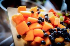 Πιατέλα φρούτων Canteloupe και βακκινίων Στοκ φωτογραφίες με δικαίωμα ελεύθερης χρήσης