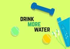 Πιείτε περισσότερο νερό Αποσπάσματα κινήτρου ικανότητας απομονωμένο έννοια αθλητικό λευκό απεικόνιση αποθεμάτων