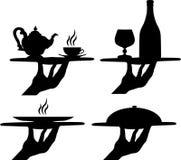 πιείτε τα πιάτα τροφίμων διανυσματική απεικόνιση
