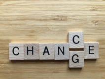 Πιθανότητα ή αλλαγή στις τρισδιάστατες ξύλινες επιστολές αλφάβητου στοκ εικόνα