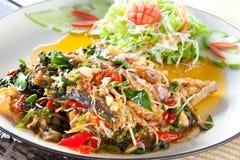 Πικάντικα ανακατώνω-τηγανισμένα ψάρια, ταϊλανδικά τρόφιμα Στοκ Φωτογραφία