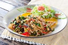Πικάντικα ανακατώνω-τηγανισμένα ψάρια, ταϊλανδικά τρόφιμα Στοκ εικόνα με δικαίωμα ελεύθερης χρήσης