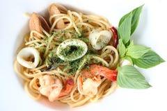 Πικάντικα θαλασσινά Spagetti Στοκ Φωτογραφία