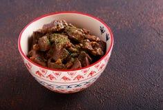 Πικάντικα κομμάτια συκωτιού, που μαγειρεύονται Στοκ Φωτογραφίες