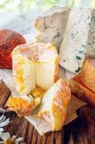 Πικάντικα τυριά λιχουδιών των διαφορετικών ποικιλιών Κόκκινο τυρί Cheddar, μπλε Dor, Stilton, λόφος Belper όμορφο κατασκευασμένο  στοκ εικόνα με δικαίωμα ελεύθερης χρήσης