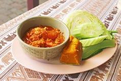 Πικάντικη εμβύθιση ταϊλανδικού κρέατος και ντοματών Στοκ Φωτογραφίες