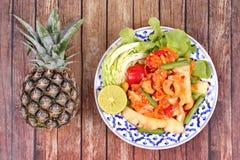 Πικάντικη και ξινή φυτική σαλάτα με τον ανανά στοκ φωτογραφίες με δικαίωμα ελεύθερης χρήσης