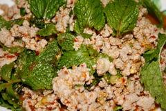 Πικάντικη κομματιασμένη σαλάτα χοιρινού κρέατος, παραδοσιακά ταϊλανδικά τρόφιμα, μουγκρητό εργαστηρίων Στοκ εικόνες με δικαίωμα ελεύθερης χρήσης