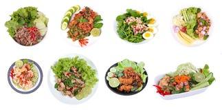 Πικάντικη σαλάτα ως, πικάντικη και ξινή μικτή σαλάτα χορταριών με το κομματιασμένο χοιρινό κρέας Στοκ εικόνα με δικαίωμα ελεύθερης χρήσης