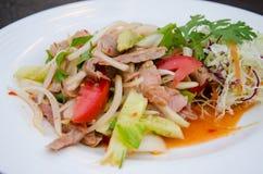 Πικάντικη σαλάτα με το ψημένο χοιρινό κρέας Στοκ Εικόνες