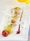Πικάντικη σούπα καλαμποκιού στο κουτάλι Στοκ Εικόνα