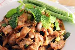 Πικάντικη ψημένη στη σχάρα σαλάτα χοιρινού κρέατος (μουγκρητό nam tok), ταϊλανδικά τρόφιμα Στοκ εικόνες με δικαίωμα ελεύθερης χρήσης