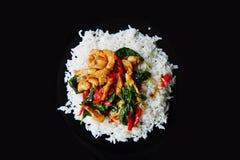Πικάντικος βασιλικός κοτόπουλου με το ρύζι στοκ εικόνες