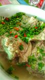 Πικάντικο βρασμένο χοιρινό κρέας σπανάκι Στοκ φωτογραφίες με δικαίωμα ελεύθερης χρήσης
