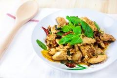 Πικάντικο ταϊλανδικό κοτόπουλο βασιλικού έτοιμο να φάει στο παραδοσιακό πιάτο Στοκ Φωτογραφίες