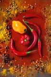 Πικάντικο υπόβαθρο με τα πιπέρια τσίλι Στοκ φωτογραφία με δικαίωμα ελεύθερης χρήσης