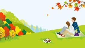 Πικ-νίκ ζεύγους στη φύση φθινοπώρου απεικόνιση αποθεμάτων