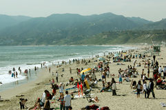 Πικ-νίκ στην παραλία, παραλία της Σάντα Μόνικα, Καλιφόρνια, ΗΠΑ στοκ φωτογραφία με δικαίωμα ελεύθερης χρήσης