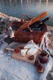 Πικ-νίκ Romatic στην παραλία στοκ φωτογραφίες