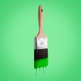 Πινέλο που φορτώνεται με το πράσινο χρώμα που στάζει από τις σκληρές τρίχες Στοκ φωτογραφία με δικαίωμα ελεύθερης χρήσης