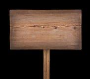 Πινακίδα που απομονώνεται ξύλινη στο Μαύρο Στοκ φωτογραφίες με δικαίωμα ελεύθερης χρήσης