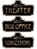 Πινακίδα σημαδιών box office θεάτρων του Art Deco ελεύθερη απεικόνιση δικαιώματος