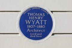 Πινακίδα του Thomas Henry Wyatt στο Λονδίνο Στοκ φωτογραφίες με δικαίωμα ελεύθερης χρήσης