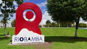 Πινακίδα Riobamba στο πάρκο Ισημερινός του Guayaquil φιλμ μικρού μήκους