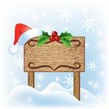 πινακίδα santa καπέλων Χριστο&ups Στοκ εικόνα με δικαίωμα ελεύθερης χρήσης