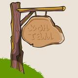 Πινακίδα κινούμενων σχεδίων σε ένα κούτσουρο του ξύλου ελεύθερη απεικόνιση δικαιώματος