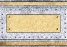 Πινακίδα μετάλλων, χαλκός ή πλαίσιο ορείχαλκου, υπόβαθρο, τρισδιάστατο, illustra Στοκ Εικόνες