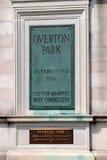 Πινακίδα πάρκων Overton, Μέμφιδα Τένεσι Στοκ φωτογραφία με δικαίωμα ελεύθερης χρήσης