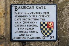 Πινακίδα πυλών Barbican σε Lewes Στοκ Φωτογραφία