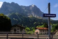 Πινακίδα σιδηροδρόμων Grindelwald Στοκ Εικόνα