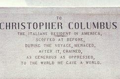 Πινακίδα του Christopher Columbus, κύκλος του Columbus, πόλη της Νέας Υόρκης, Νέα Υόρκη στοκ εικόνες