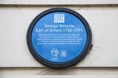 Πινακίδα του George Walpole στο Νόργουιτς Στοκ φωτογραφίες με δικαίωμα ελεύθερης χρήσης